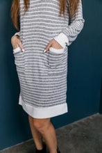 Load image into Gallery viewer, Georgia On My Mind Dress In Gray + White - ALL SALES FINAL