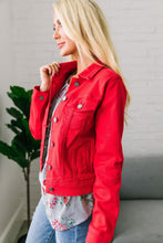 Load image into Gallery viewer, Happy Day Red Denim Jacket