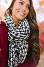 Load image into Gallery viewer, High Honors Houndstooth Scarf In Black & White - ALL SALES FINAL