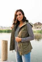 Load image into Gallery viewer, Hooded Camp Vest In Olive - ALL SALES FINAL