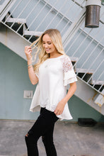 Load image into Gallery viewer, Ivory Lace Sleeve Top