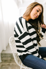 Load image into Gallery viewer, Jailbreak Stripes Chenille Sweater In Black + White - ALL SALES FINAL