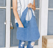 Load image into Gallery viewer, Jenny Sueded Hobo Bag in Marine Blue