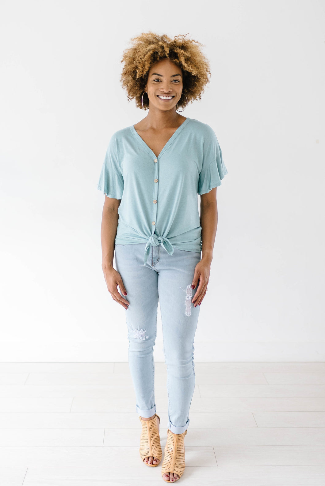 Jessica Ties Top In Seafoam