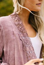 Load image into Gallery viewer, Kimberly Lace Trimmed Kimono In Mauve - ALL SALES FINAL