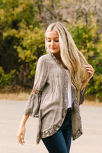 Load image into Gallery viewer, Kimberly Lace Trimmed Kimono In Olive - ALL SALES FINAL