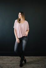 Load image into Gallery viewer, Knot Me V-Neck Tee in Rose