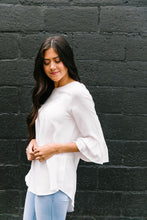 Load image into Gallery viewer, Linen-Like Trumpet Sleeve Blouse In White
