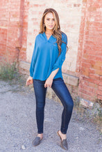 Load image into Gallery viewer, Madeline Mandarin Collared Top In Teal Blue