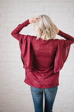 Load image into Gallery viewer, Midnight Ruffle Top in Burgundy
