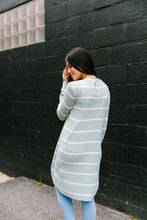 Load image into Gallery viewer, White + Mint Striped Cardigan