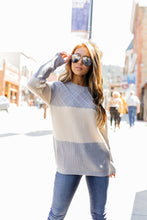 Load image into Gallery viewer, New Sweater On The Block In Gray + Ivory - ALL SALES FINAL