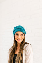 Load image into Gallery viewer, Nifty Knit Beanie In Teal - ALL SALES FINAL