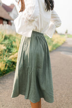 Load image into Gallery viewer, Olive Button Down Midi Skirt