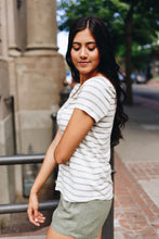 Load image into Gallery viewer, Peekaboo Lace Gray + White Striped Tee