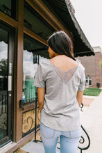 Load image into Gallery viewer, Peekaboo Lace Tee In Gray