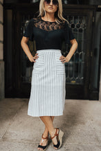 Load image into Gallery viewer, Pencil + Pinstripes Skirt