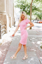Load image into Gallery viewer, Pink Striped Tulip Hem Dress