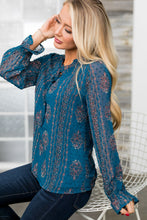 Load image into Gallery viewer, Pretty As A Peacock Chiffon Blouse - ALL SALES FINAL