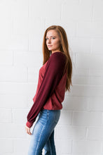 Load image into Gallery viewer, Ramona Raglan Bubble Sleeve Sweatshirt - ALL SALES FINAL