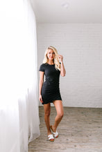 Load image into Gallery viewer, Ruched T-Shirt Dress In Black