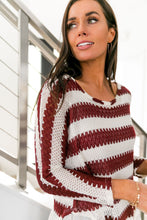Load image into Gallery viewer, Ruffle Hem Burgundy Striped Top - ALL SALES FINAL