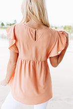 Load image into Gallery viewer, Ruffled Sleeve Baby Doll Blouse In Peach