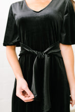 Load image into Gallery viewer, Smile Sparkle Shine Velvet Dress In Black - ALL SALES FINAL