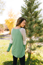 Load image into Gallery viewer, Stacked Sleeve Raglan Tee In Sage - ALL SALES FINAL