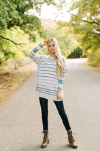 Load image into Gallery viewer, Stairway To Heaven Gray And Blue Striped Sweater - ALL SALES FINAL