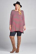 Load image into Gallery viewer, Steady She Goes Striped Top In Burgundy Plus Only