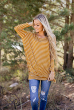 Load image into Gallery viewer, Steady She Goes Striped Top In Mustard