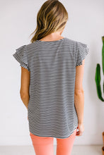 Load image into Gallery viewer, Striped Double Ruffle Top In Black + White