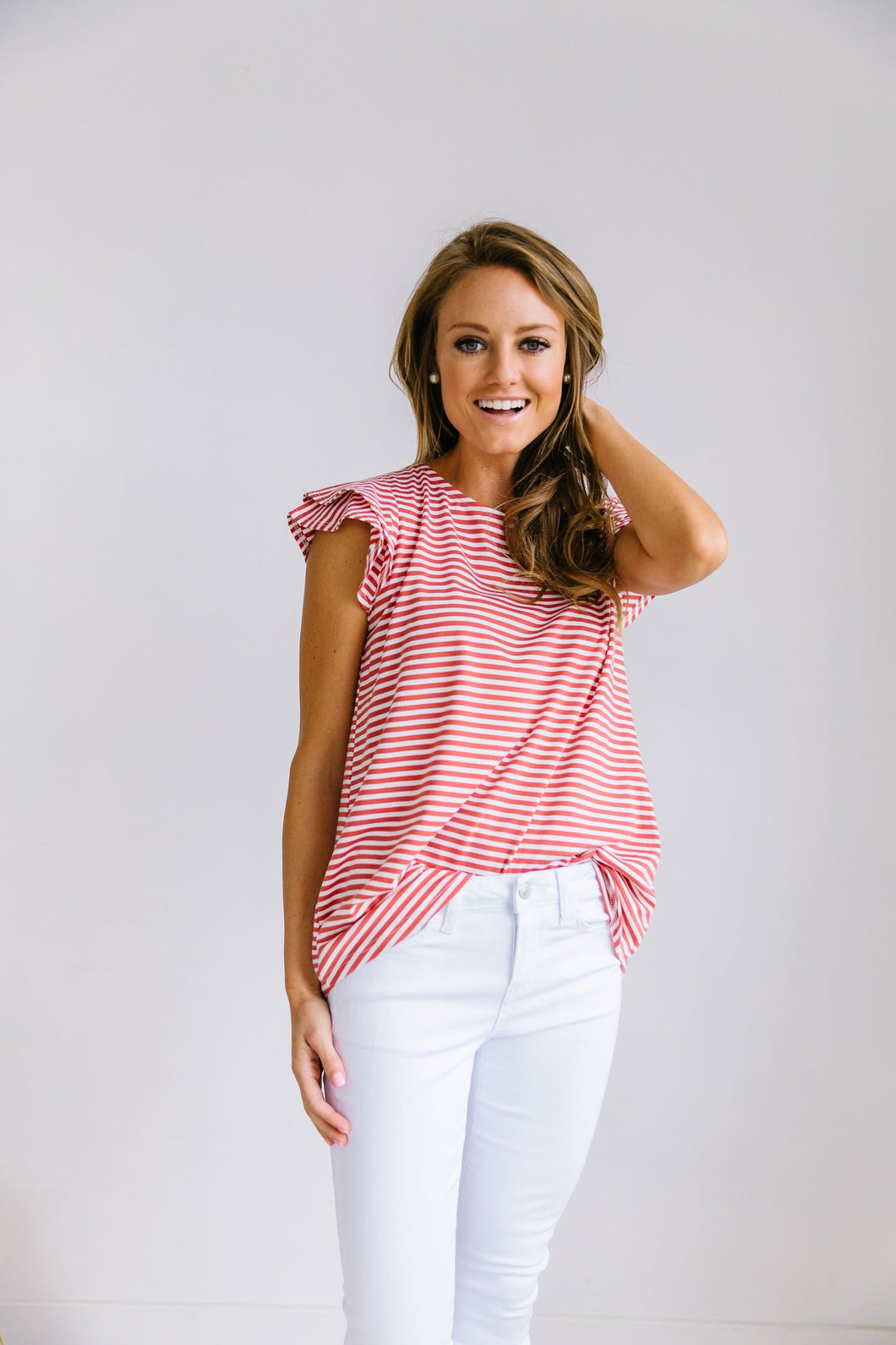 Striped Double Ruffle Top In Coral + White
