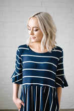 Load image into Gallery viewer, Take Me Away Striped Dress in Navy