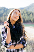 Load image into Gallery viewer, Tasseled Infinity Scarf In Black