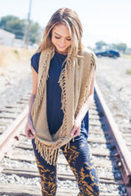 Load image into Gallery viewer, Tasseled Infinity Scarf In Khaki