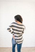 Load image into Gallery viewer, Taylor Ties in Stripes in Cream & Charcoal