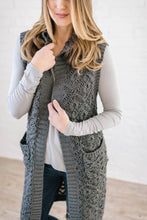 Load image into Gallery viewer, The Haley Hooded Sweater Vest in Charcoal