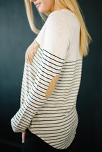 Load image into Gallery viewer, Lincoln Long Sleeve Top in Black & Oatmeal