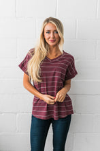 Load image into Gallery viewer, Tomboy V-Neck Tee In Burgundy - ALL SALES FINAL