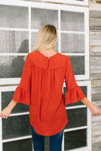 Load image into Gallery viewer, Trumpet Sleeve Blouse In Rust