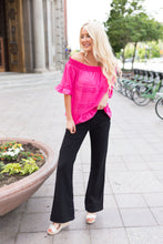 Load image into Gallery viewer, Tucks + Ruffles Off Shoulder Top In Carnation Pink