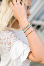 Load image into Gallery viewer, Turquoise + Brass Stacked Bracelet