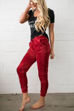 Load image into Gallery viewer, Very Velvety Velour Joggers In Red - ALL SALES FINAL