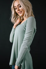 Load image into Gallery viewer, Willow Woven Shark Bite Top in Sage Green