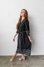 Load image into Gallery viewer, Winding Vines Wrap Dress In Black