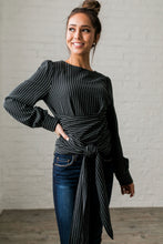 Load image into Gallery viewer, Wrap Around Pinstriped Blouse