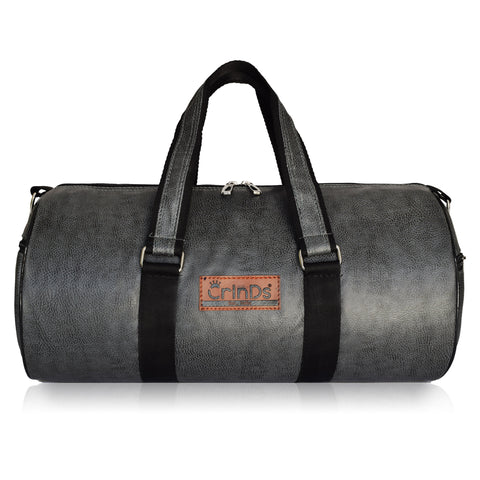 Crinds Leatherette Duffel Bag - Grey Black