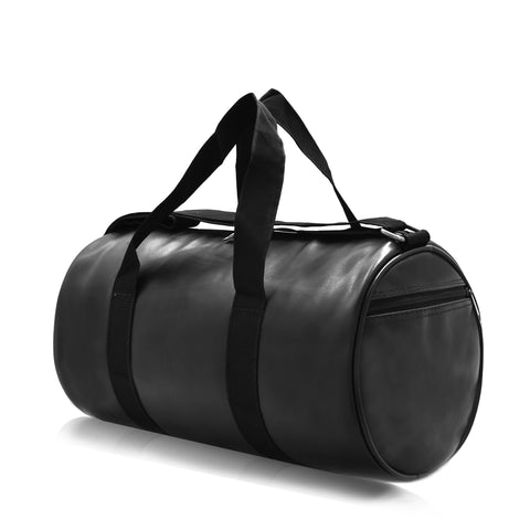 NB Compact Size Black PU Duffel Bag